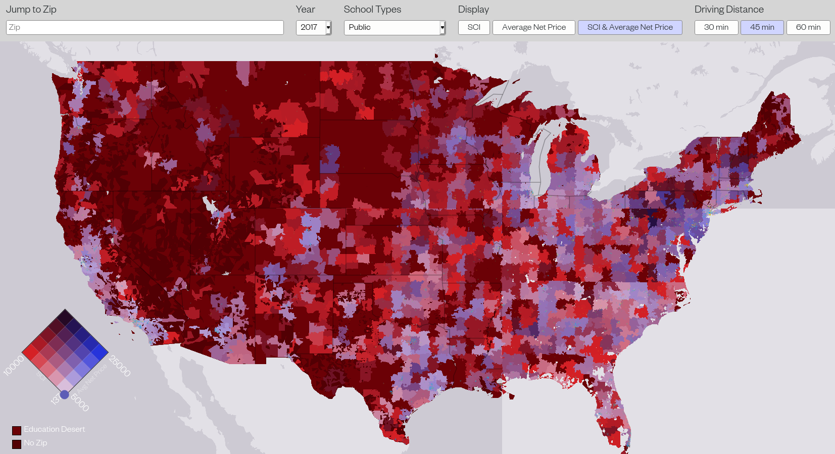 A map showing higher ed concentration in the United States.
